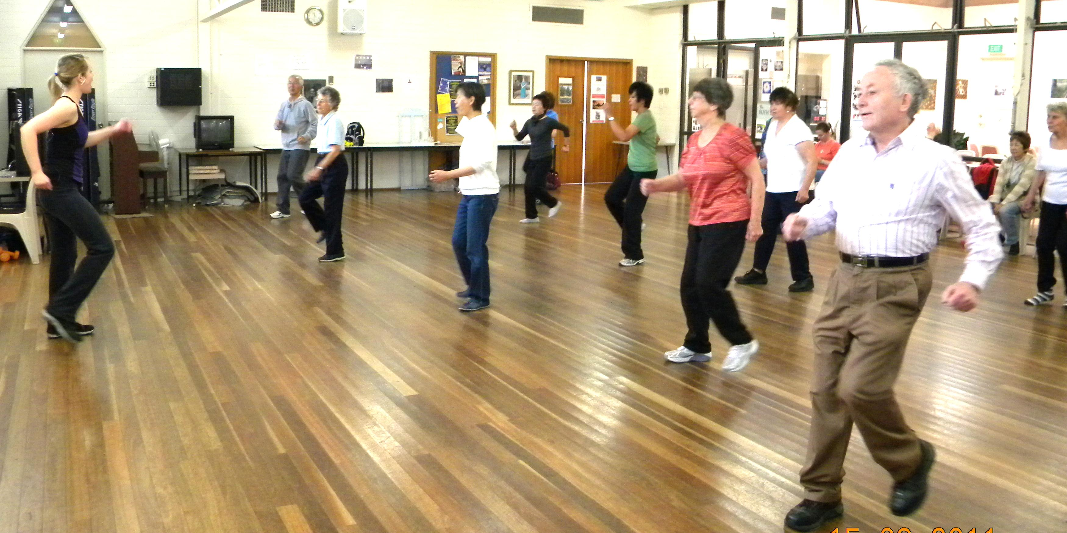 Members of the Canberra Seniors Centre taking part in Jazzercise class.