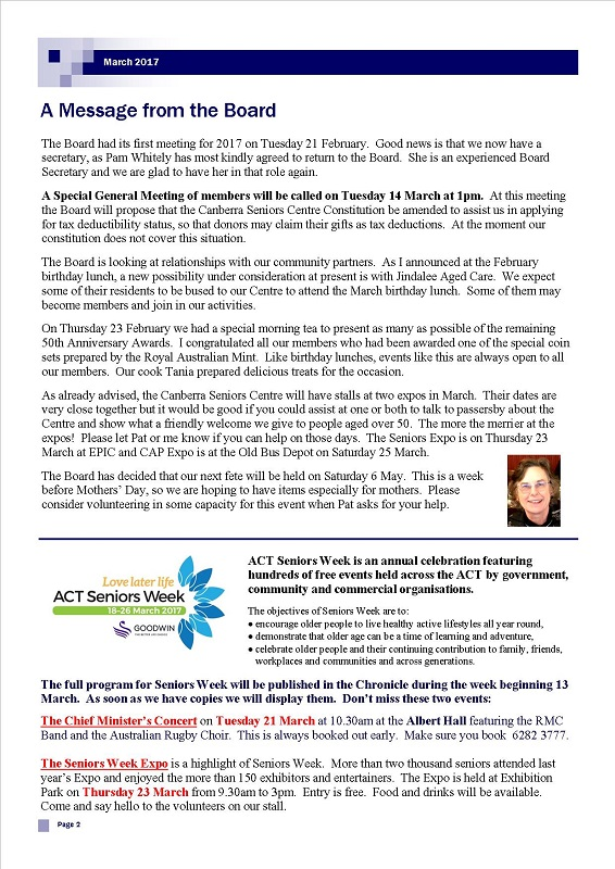March 2017 Newsletter page 2