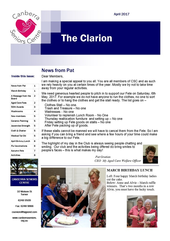 April 2017 Newsletter, page 1