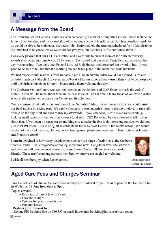 April 2017 Newsletter, page 2
